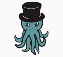 Little Cthulhu in a Top Hat (blue) by psychodork