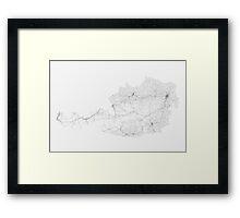 Roads of Austria. (Black on white) Framed Print