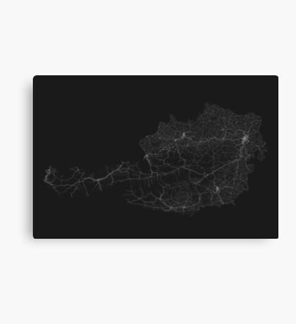Roads of Austria. (White on black) Canvas Print