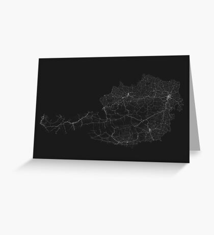 Roads of Austria. (White on black) Greeting Card