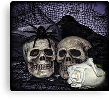 Bride and Groom Skulls Canvas Print