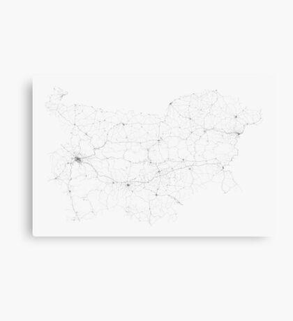 Roads of Bulgaria. (Black on white) Canvas Print