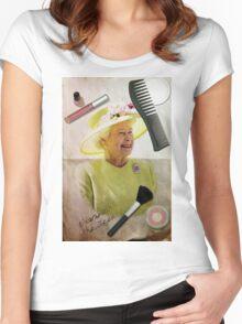 Portrait of Queen Elizabeth II Women's Fitted Scoop T-Shirt