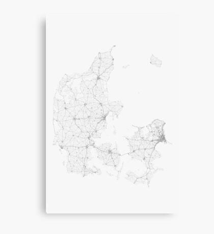 Roads of Denmark. (Black on white) Canvas Print