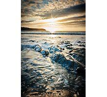 Sunset, sea and rocks at Abereiddy Photographic Print