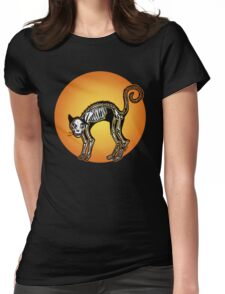 Halloween Cat Skeleton silhouette Womens Fitted T-Shirt