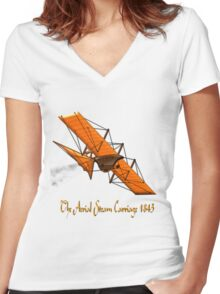 Aerial Steam Carriage, England 1843 Women's Fitted V-Neck T-Shirt
