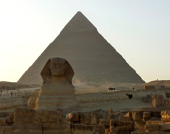 Late Afternoon Sun on Khafre's Pyramid and The Great Sphinx by Lucinda Walter