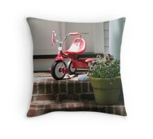 Tricycle on porch Throw Pillow