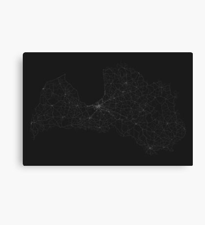 Roads of Latvia. (White on black) Canvas Print