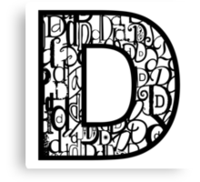 The Letter D, white background Canvas Print