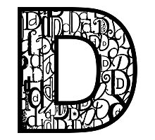 The Letter D, white background Photographic Print