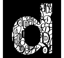Small Letter D, black background Photographic Print