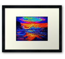 Glass Wave Sunset Framed Print