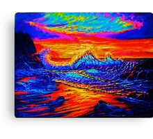 Glass Wave Sunset Canvas Print