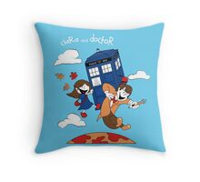 Clara and Doctor Throw Pillow