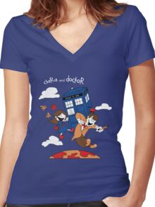 Clara and Doctor Women's Fitted V-Neck T-Shirt