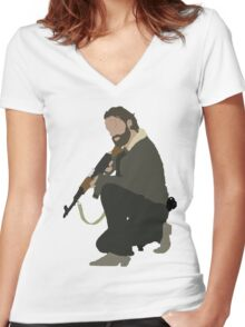 Rick Grimes - The Walking Dead Women's Fitted V-Neck T-Shirt