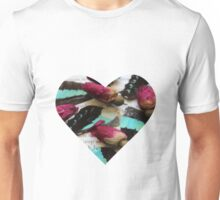 Boho Blue Butterfly Wings with Red Rose Buds on Vintage Paper Unisex T-Shirt