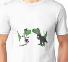 Funny Green T-Rex Dinosaur Bride and Groom Unisex T-Shirt