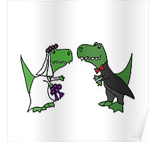 Funny Green T-Rex Dinosaur Bride and Groom Poster