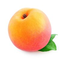 One peach or apricot with leaf by 6hands