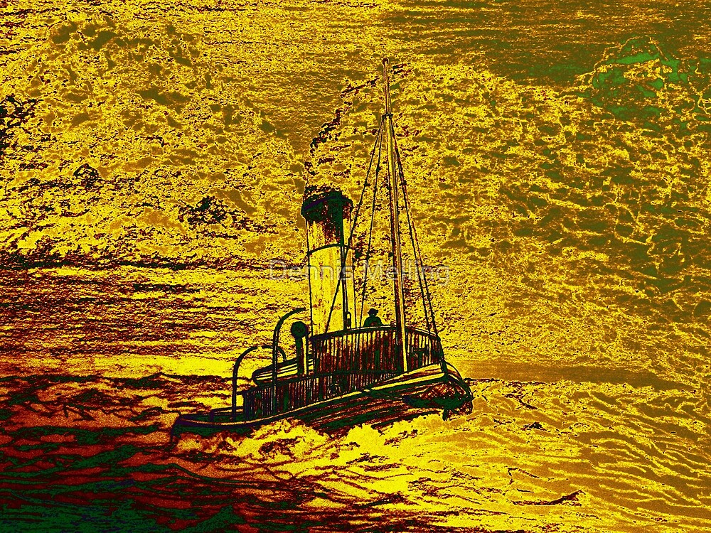 A Steam Tugboat in yellow by Dennis Melling