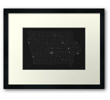 Roads of Iowa. (White on black) Framed Print