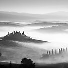 Early morning mist, Val D'Orcia, Tuscany, Italy. by Justin Foulkes
