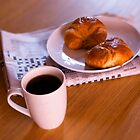 coffee and croissants by Barry James Roberts