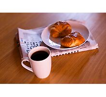 coffee and croissants Photographic Print