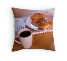 coffee and croissants Throw Pillow