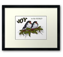 Christmas Holly with Singing Birds, JOY to the World Framed Print