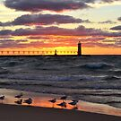 Sunset Manistee Michigan Style by Debbie  Maglothin