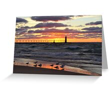 Sunset Manistee Michigan Style Greeting Card