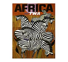 Africa Fly TWA Travel Poster ~ Vintage Airline Zeebras ~ 0560 Photographic Print