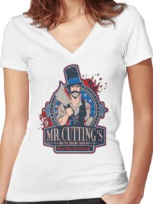 Mr. Cuttings Butcher Shop  Women's Fitted V-Neck T-Shirt