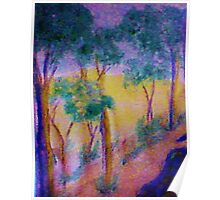 Eucolptus trees on slope, watercolor Poster