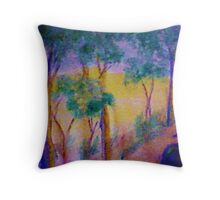 Eucolptus trees on slope, watercolor Throw Pillow