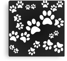 BLACK PAW PATTERN MONOCHROME CATS DOGS Canvas Print