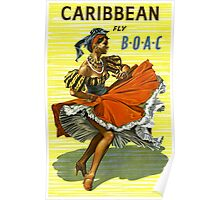 Caribbean Vintage Travel Poster ~ Fly BOAC Airline ~ 0574 Poster