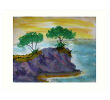 Revised clifff with trees added, watercolor Art Print