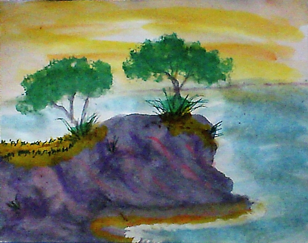 Revised clifff with trees added, watercolor by Anna  Lewis
