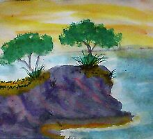 Revised clifff with trees added, watercolor by Anna  Lewis, blind artist