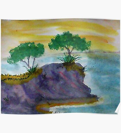 Revised clifff with trees added, watercolor Poster