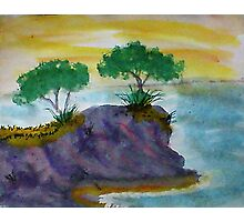 Revised clifff with trees added, watercolor Photographic Print
