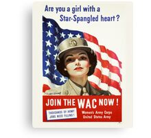 Army Nurse Recruiting Vintage Poster ~ Join the WAC Now! ~ World War 2 WWII ~ 0580 Canvas Print
