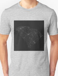 Roads of South Carolina. (White on black) Unisex T-Shirt