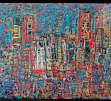 Abstract Marker Drawing of City by Chicago Artist Gary Bradley by Gary Bradley
