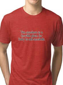 The seashore is a terrible place for Sally to sell seashells.  Tri-blend T-Shirt